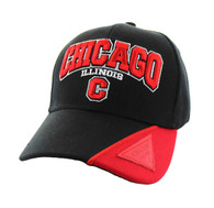 VM417 Chicago City Velcro Cap (Black & Red)
