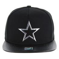 SM763 Star Snapback Cap Hat (Black & Black) - Silver