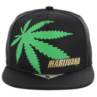 SM143 Marijuana Snapback Cap (Black)