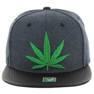 SM200 Marijuana Snapback Cap (D.Green& Black PU)