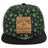 SM104 Marijuana Snapback Cap (Black/Black)