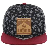 SM104 Marijuana Snapback Cap (Black/Burgundy)