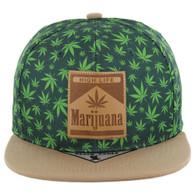 SM104 Marijuana Snapback Cap (Green/Khaki)