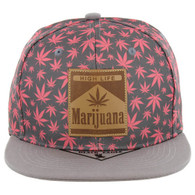 SM104 Marijuana Snapback Cap (Pink/Grey)