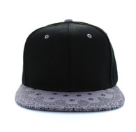 SP028 Blank Cotton Snapback (Black & Bandana Light Grey)