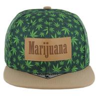SM105 Marijuana Snapback Cap (Green/Khaki)