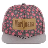 SM105 Marijuana Snapback Cap (PInk/Grey)