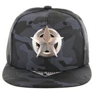 SM096 Star Metal Plate Snapback (Black Camo PU)
