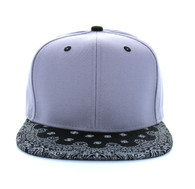 SP028 Blank Cotton Snapback (Light Grey & Bandana Black)
