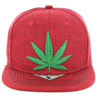 SM9011 Marijuana Snapback (Twill Red)