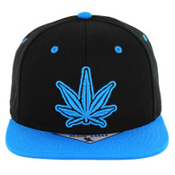 SM281 Marijuana Snapback Cap (Black & Mint)