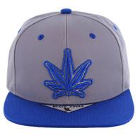 SM281 Marijuana Snapback Cap (Grey & Royal)
