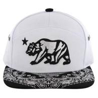 SM7082 7 Panel Cali Bear Snapback Hat (White & Black)