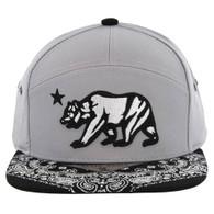 SM7082 7 Panel Cali Bear Snapback Hat (Grey & Black)