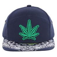 SM7082 7 Panel Marijuana Snapback Hat (Navy)
