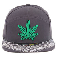 SM7082 7 Panel Marijuana Snapback Hat (Charcoal)