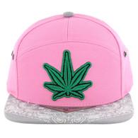 SM7082 7 Panel Marijuana Snapback Hat (Pink & Grey)