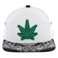 SM7082 7 Panel Marijuana Snapback Hat (White & Black, Green Logo)
