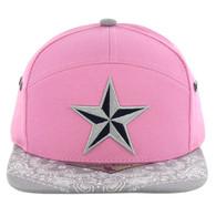 SM7082 7 Panel Star Snapback Hat (Pink & Grey)