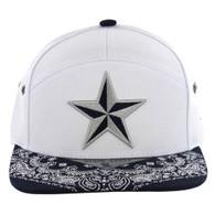 SM7082 7 Panel Star Snapback Hat (White & Navy)