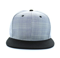 SP030 Blank Cotton Snapback (Light Grey & Black)