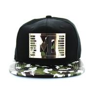 SM473 Miami City Metal Snapback (Black & Military Camo)