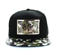 SM473 Marijuana Metal Snapback (Black & Military Camo)