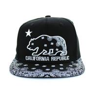 SM529 Cali Bear Cotton Snapback (Black & Bandana Black)