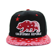 SM529 Cali Bear Cotton Snapback (Black & Bandana Red)