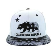 SM529 Cali Bear Cotton Snapback (White & Bandana Black)