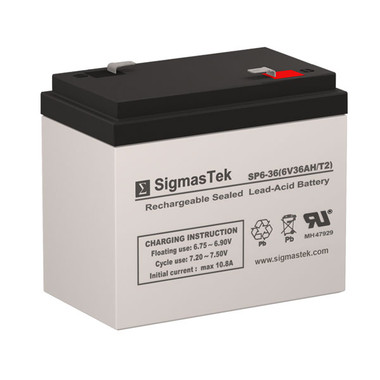6 Volt 36 Amp F2 Sealed Lead Acid Battery