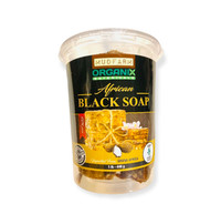 Raw African Black Soap from Ghana, Africa. Use daily for Acne and Blemishes giving you naturally beautiful skin without any chemicals or artificial ingredients.  This comes in chunks in the tubs and you can take out as you need to use without putting used portions back into the tub. Keep tub in dry area and avoid water getting in.