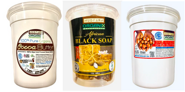 Cocoa Butter, Black Soap and Shea Butter Combo 1 Lb Each