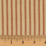 Red & Tea Dye Ticking Stripe Homespun Cotton Fabric