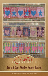 Primitive Hearts & Stars Window Valance Pattern - DIGITAL