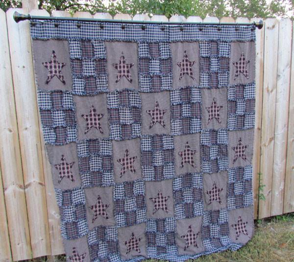 Americana Ragged Shower Curtain Pattern