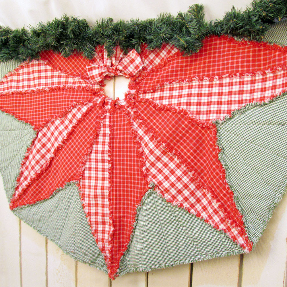 Poinsettia Star Quilted Christmas Tree Skirt Pattern Digital