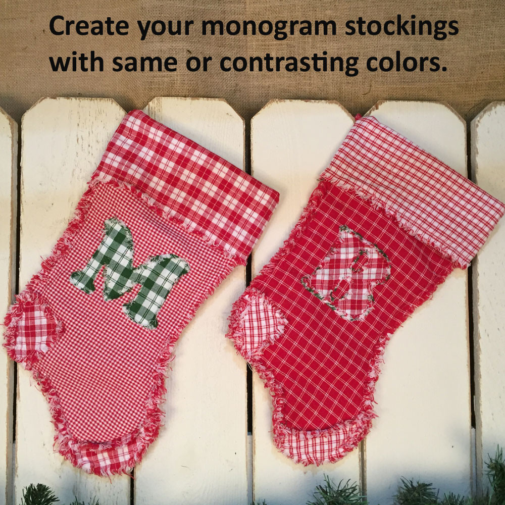 Monogram Letter Quilted Christmas Stocking Pattern Digital