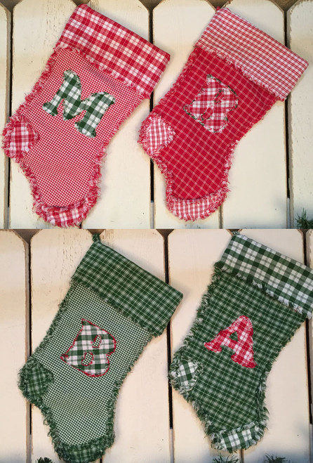 Monogram Letter Quilted Christmas Stocking Pattern