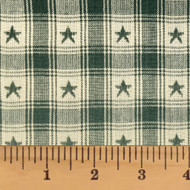 Farmhouse Green Star Check Homespun Cotton Fabric