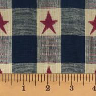 Large Star Blue Dobby Homespun Cotton Fabric