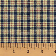 Farmhouse Navy Blue Small Plaid Homespun Cotton Fabric