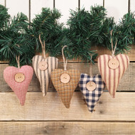 Homespun Fabric Rustic Heart Christmas Ornaments - Set of 5