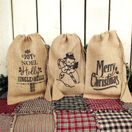 Christmas Burlap Drawstring Bags Set of 3 Designs
