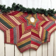 "48"" Quilted Homespun Plaid Christmas Tree Skirt"