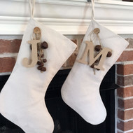 Natural Textured Cotton Christmas Stocking With Letter Charm & Rusty Bells Ornament