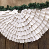 "48"" Ruffled Shabby Natural White Cotton Christmas Tree Skirt"