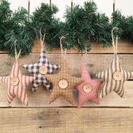 Homespun Fabric Rustic Star Christmas Ornaments - Set of 5