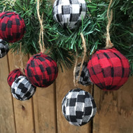 Red, White & Black Mini Buffalo Plaid Homespun Christmas Ball Ornaments Set of 12