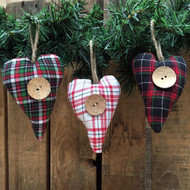 Tartan Plaid Homespun Fabric Heart Christmas Ornaments - Set of 3